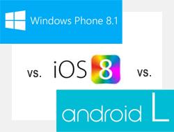 iOS 8 vs. Android L vs. Windows Phone 8.1